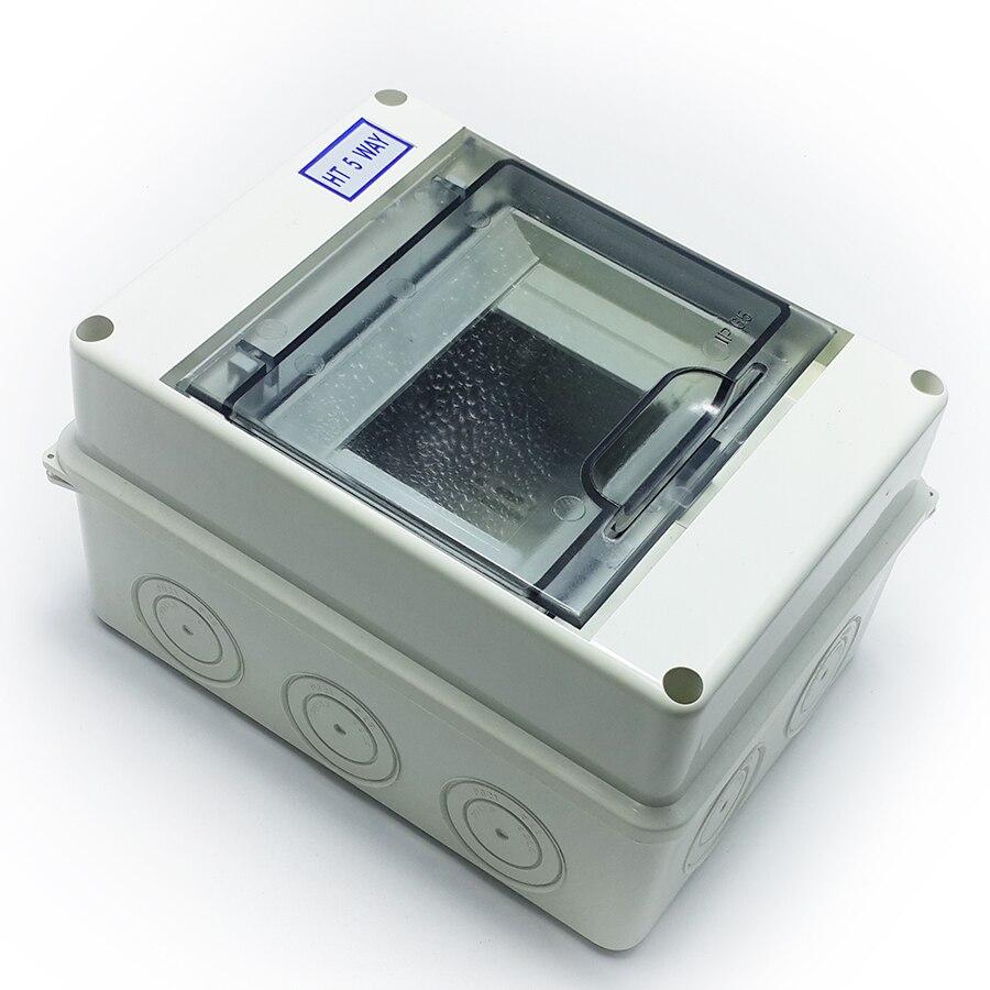 Waterproof Plastic Distribution Rain Box for Circuit Transparent Cover 5Way