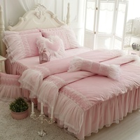 Winter suit Coral velvet Duvet Cover Set thickening princess candy girl lace Europe pink & blue bedding room home textile FG174