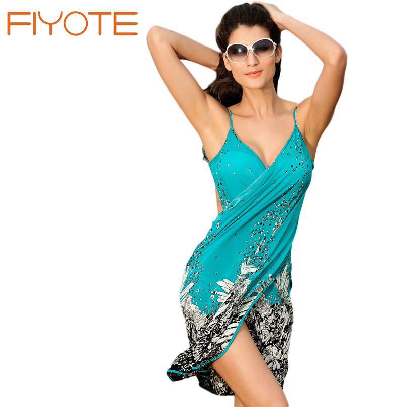 FIYOTE New Negril Beach Cover up LC40714 Sexy Swimwear Floral Beach Cover Up Woman Beach Dress