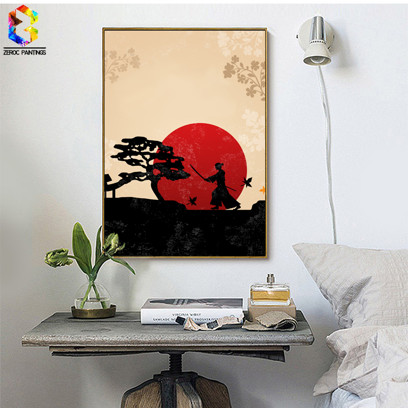 Japanese Art Print Ink Painting, Warrior Wall Hanging Poster Picture for Living Room Decoration Ninja Home decor