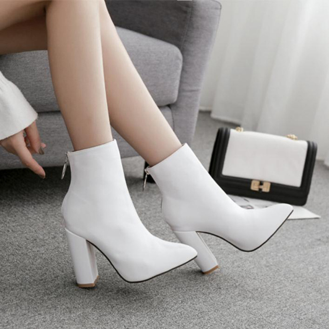 21b7a309be0 Cheap FIDANEI Fashionable White Boots, High-heeled Shoes, Martin ...