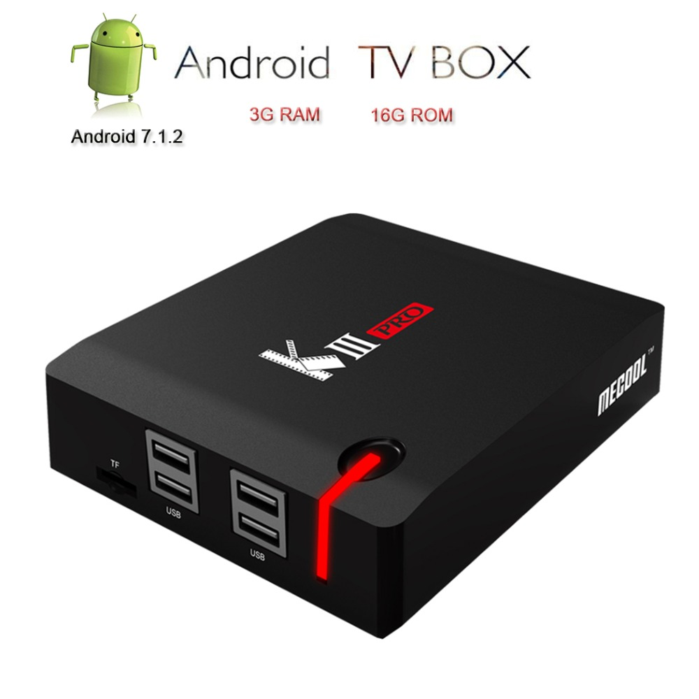 Mecool Android 7.1 TV Box KIII PRO Set Top Box 4 k WiFi 2.4g/5g 3 gb 16 gb DVB-S2/T2/C Décodeur Amlogic BT 4.0 Soutien Cccam IPTV