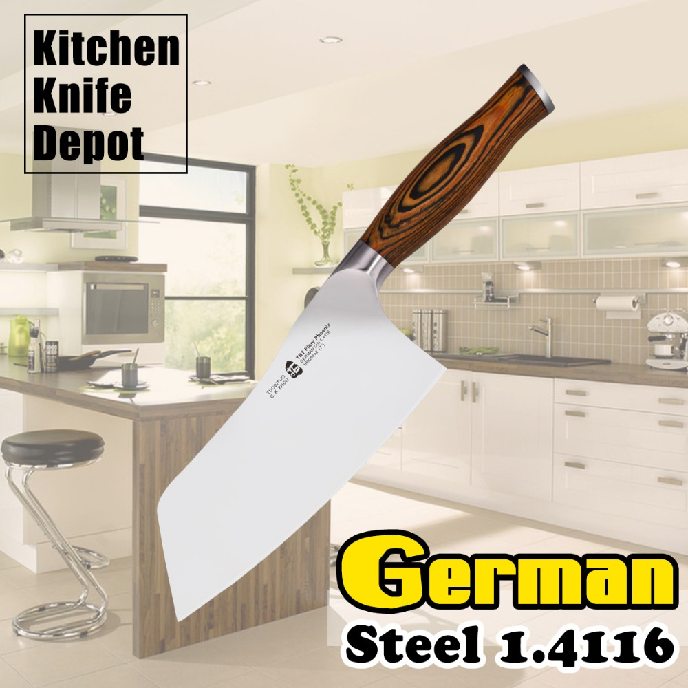 7 Meat Clever font b Knife b font German Steel 1 4116 Pakkawood Handle Stainless Steel