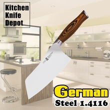 7″ Meat Clever Knife German Steel 1.4116 Pakkawood Handle Stainless Steel Sharp Edge Kitchen Blade Chef Chopping Cutting Bones
