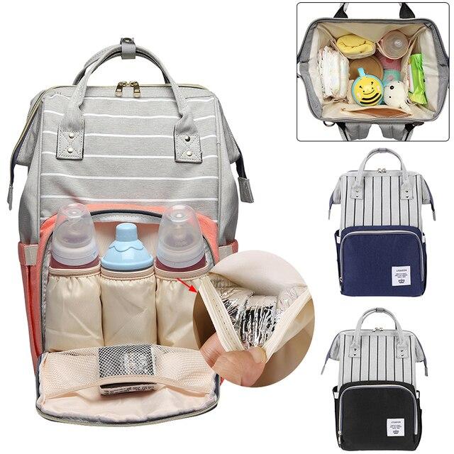 Mummy Diaper Bag Maternity Zipper Women Nursing Handbag Stripe Large Capacity Travel Backpack Pregnancy Waterproof Ny