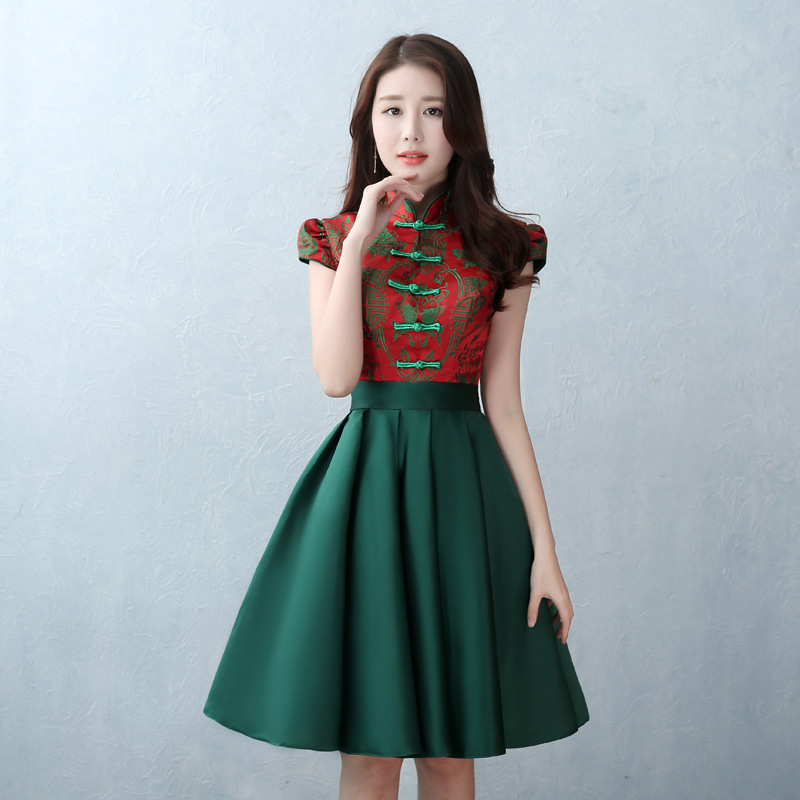Chinese Traditional Women Short Sleeve Qipao Elegant