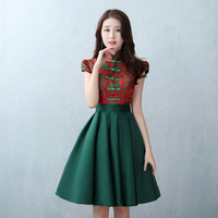 Chinese Traditional Women Short Sleeve Qipao Elegant Cheongsam Plus Size Lady Wedding Bridesmaid Dress Sexy Vestidos XXS 3XL