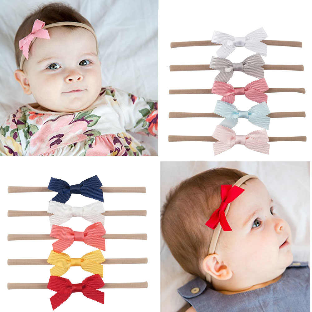 Nishine 5pcs/lot Boutique Baby Nylon Headband Solid Swallowtail Bowknot Elastic Hair Band Kids Newborn Hair Accessories