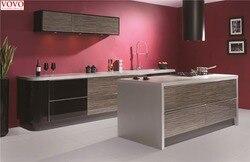 High gloss black зерна, древесины кухонная мебель