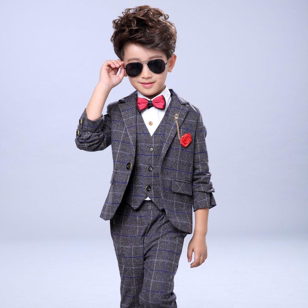 Zēnu kāzu tērpi Bērnu zila jaka + veste + bikses 3 gab. / - Bērnu apģērbi - Foto 5