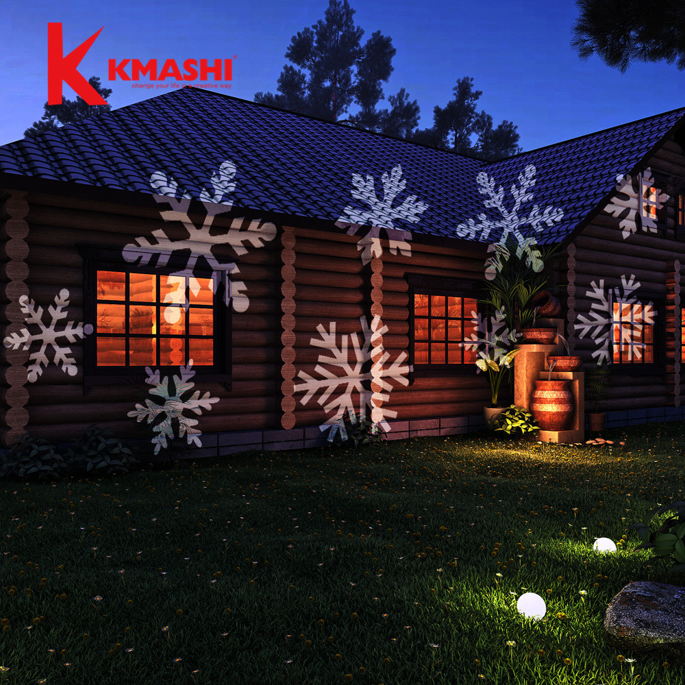 Kmashi Christmas Light Projector Spotlight 4pics Dynamic White Snow Showparty Holiday Decoration Outdoor Lighting In Led Lawn Lamps From Lights