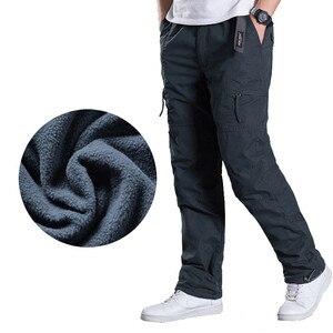 Image 1 - Marka Plus size męskie spodnie bojówki grube ocieplane spodnie zimowe pełnej długości kilka kieszeni dorywczo wojskowe taktyczne spodnie