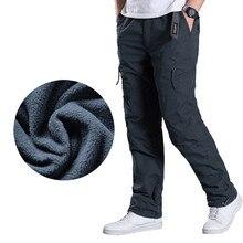 Pantalones Cargo de talla grande para hombre, pantalón grueso cálido de invierno, largo completo, multibolsillos, informales, militares, holgados, tácticos
