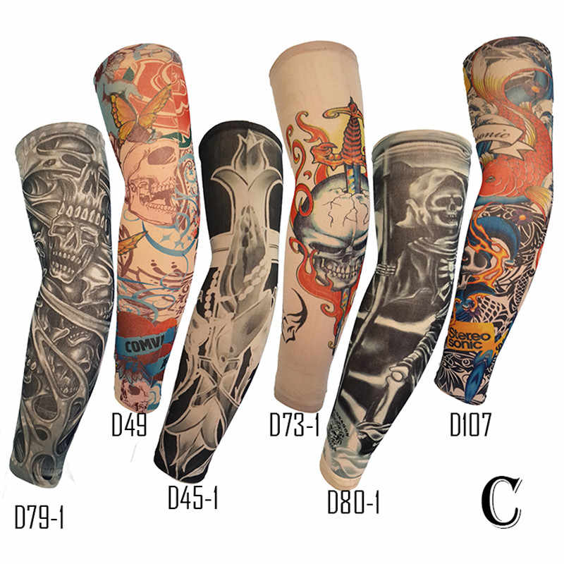 Anti-Sunshine Fashion Mannen en Vrouwen Tattoo Arm Been Mouwen Hoge Elastische Nylon Halloween Party Dance Party Tattoo Mouw