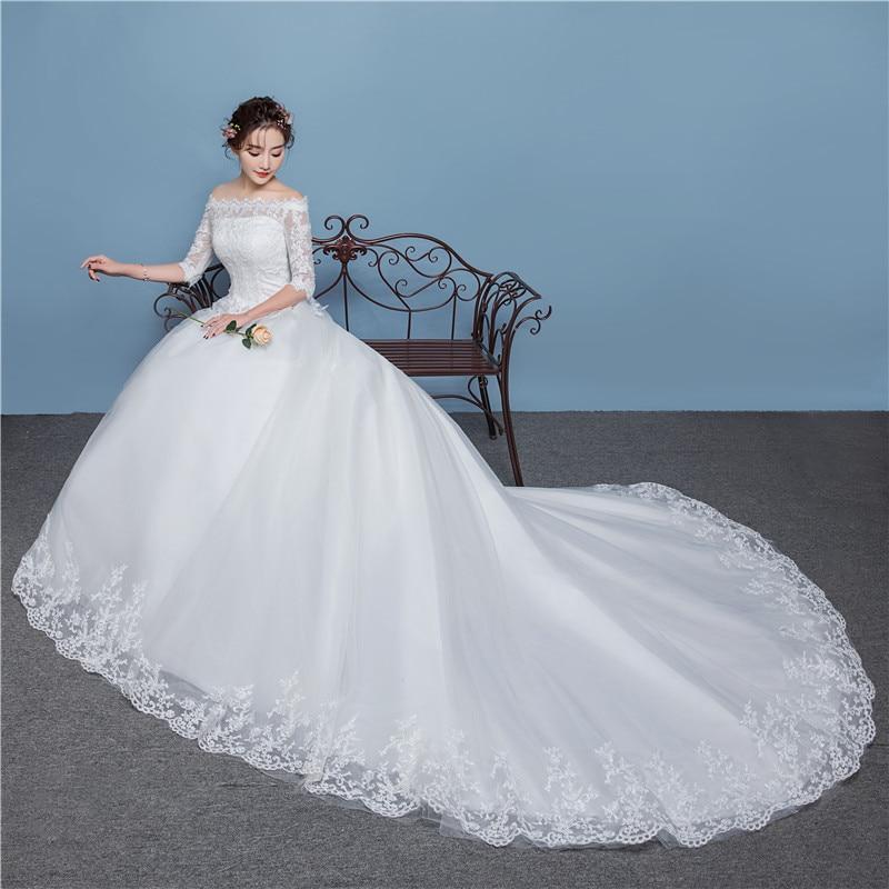 1056bddab Popodion de media manga boda vestido de novia vestido de boda de lujo de  cola larga vestido de novia de WED90434 en Vestidos de novia de Bodas y  eventos en ...