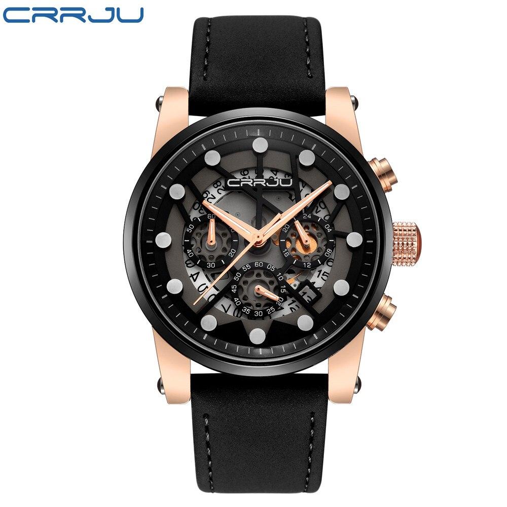 CRRJU Large dial design Chronograph Sport Mens Watches Fashion Brand Military waterproof Quartz Watch Clock Relogio Masculino on AliExpress
