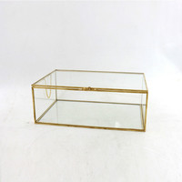 Jewelry Box Glass Storage Box Retro Style Dressing Table Tissue Box Finishing Collection Nail Shop Display Cover
