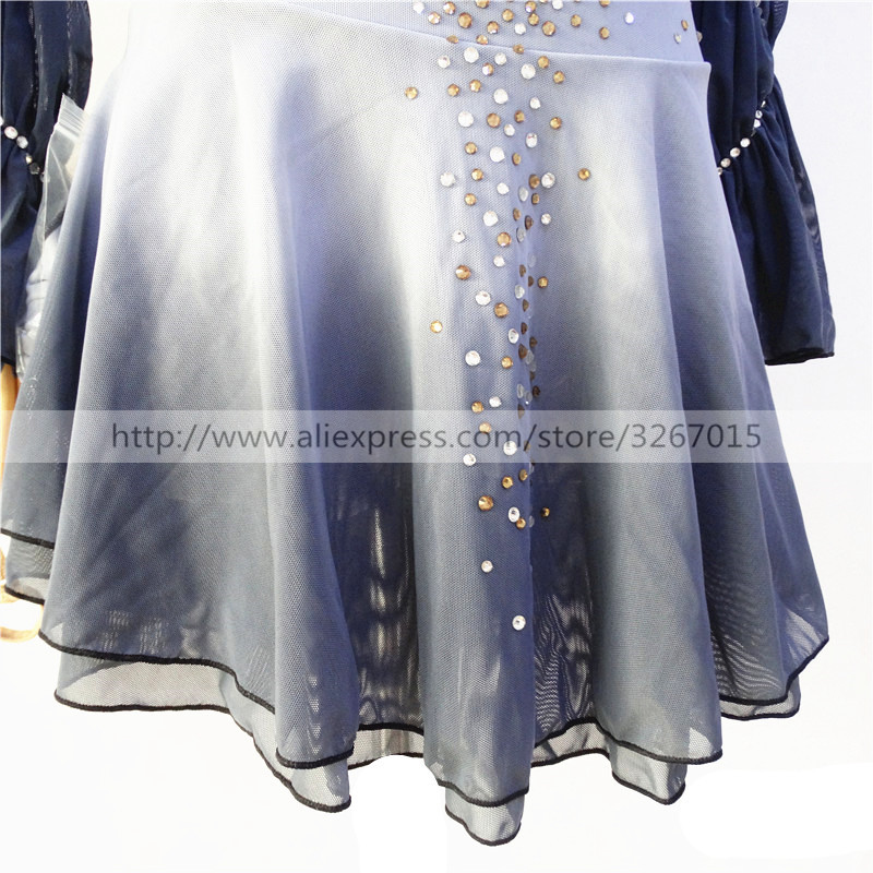 Image 2 - Figure Skating Dress Womens Girls Ice Skating Dress Light grey High elastic spandex fabric Artificial water drill Backlessbacklessbackless dress  -
