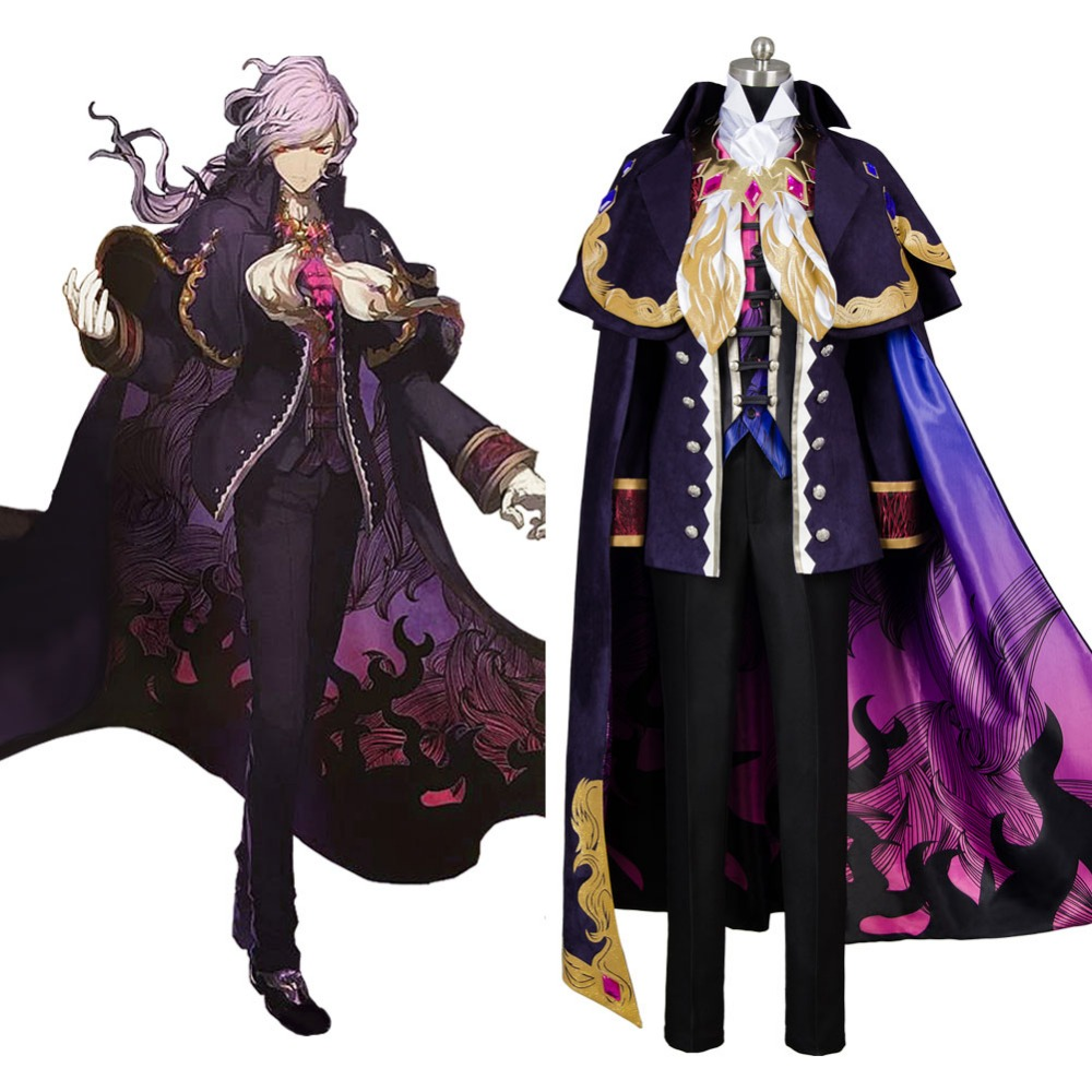 Fate Grand Order Cosplay Monte Cristo Cosplay Edmond Dantes Avenger Cosplay Costume Purple Suit Halloween Carnival Costume Adult