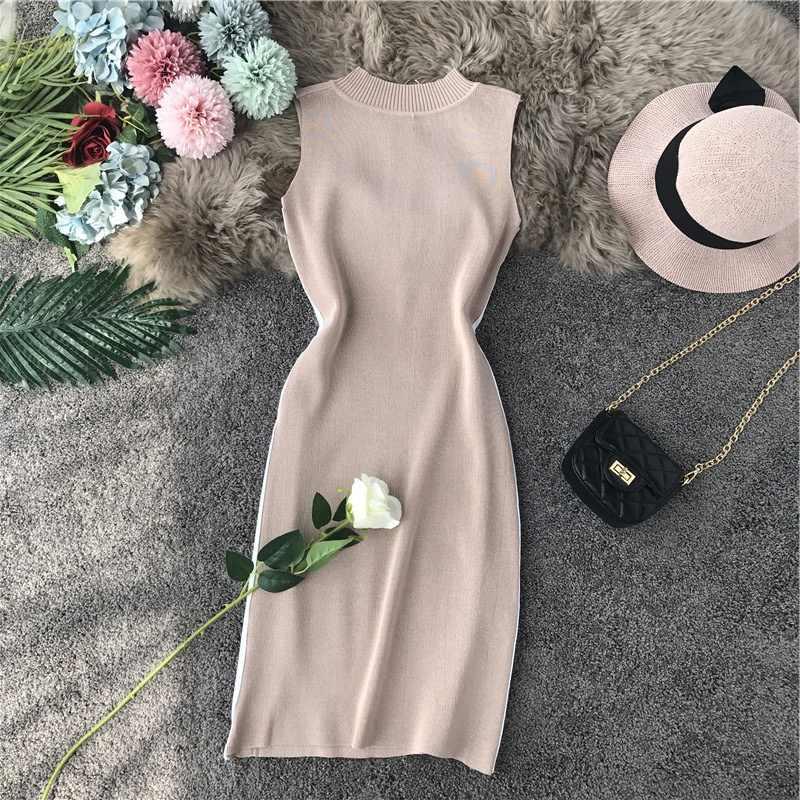 OCEANLOVE Sexy Kleid Getäfelten Zipper Gestrickte Frauen Kleid 2020 Sommer Bodycon Stretch Robe Femme Hohe Taille Mini Kleider 12201