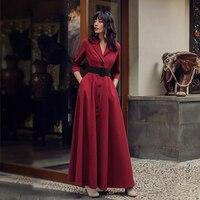 VERRAGEE 2019 women red shirt dress maxi spring summer formal Dress elegant a line striped long elegant dress with pockets