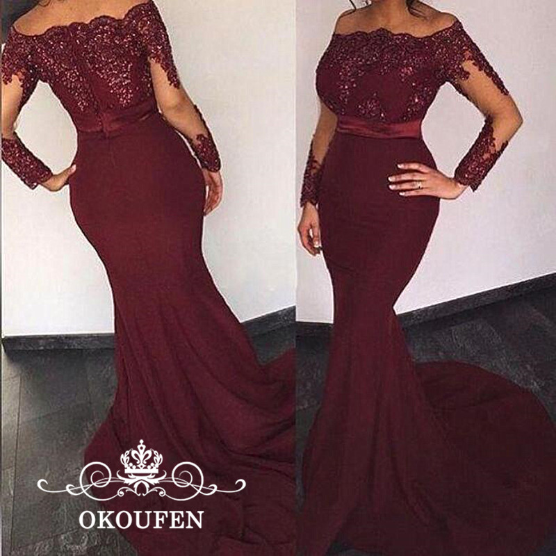 Burgundy Lace Prom Dresses With Long Sleeves Mermaid 2019 Appliques Beads Elegant Formal Evening Dress Party For Women