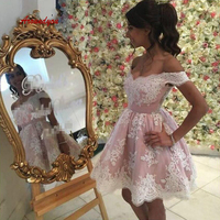 Sexy Pink Short Cocktail Dresses Lace Plus Size Mini Homecoming Semi Formal Graduation Prom Party Dresses