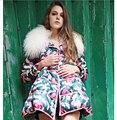 Europa Nueva Moda de Invierno Mujer Abrigo de cuello de Piel Elegante Impresa capa Suelta Abrigo de Ocio Gruesos Cálida Pato abajo abajo chaqueta G2305