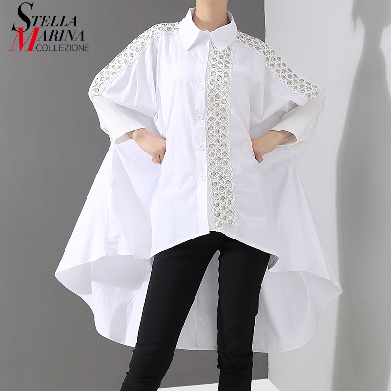 New 2019 Korean Style Women Solid White Blouse Shirt Long Sleeve Lapel Lace Stitched Long Tail