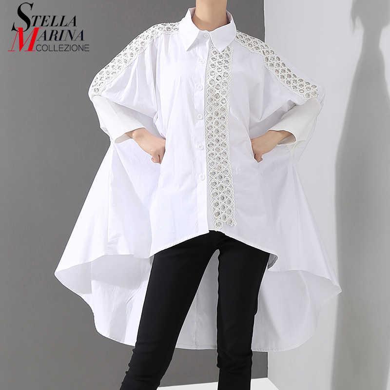 New 2019 Korean Style Women Solid White Blouse Shirt Long Sleeve Lapel Lace Stitched Long Tail Feminine Shirt chemise femme 4701