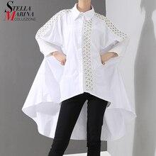 New2020 Estilo Coreano Mulheres Sólidos Blusa Branca Camisa de Manga Longa Lapela Laço Costurado Cauda Longa Feminina Camisa chemise femme 4701