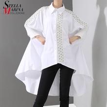 New2020 Korean Style Women Solid White Blouse Shirt Long Sleeve Lapel Lace Stitched Long Tail Feminine Shirt chemise femme 4701