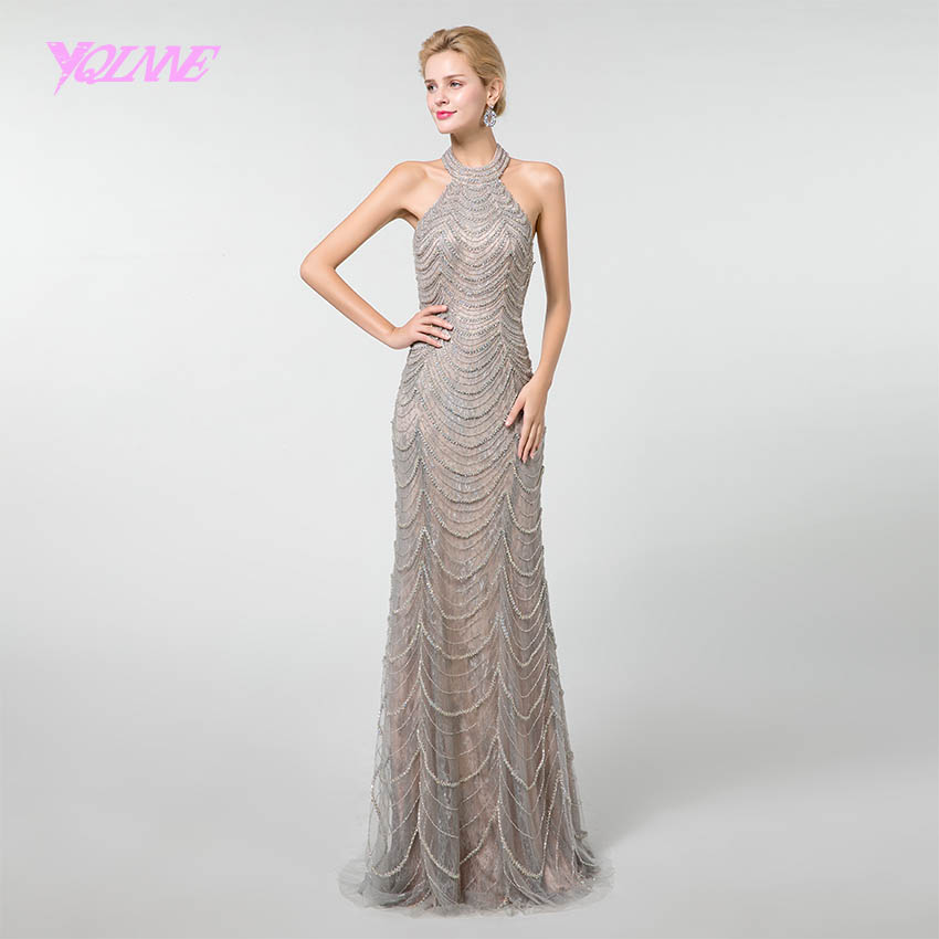YQLNNE New Arrival Long   Prom     Dresses   2019 Gray Halter Crystals Beaded Sleeve Vestido de Festa YQLNNE