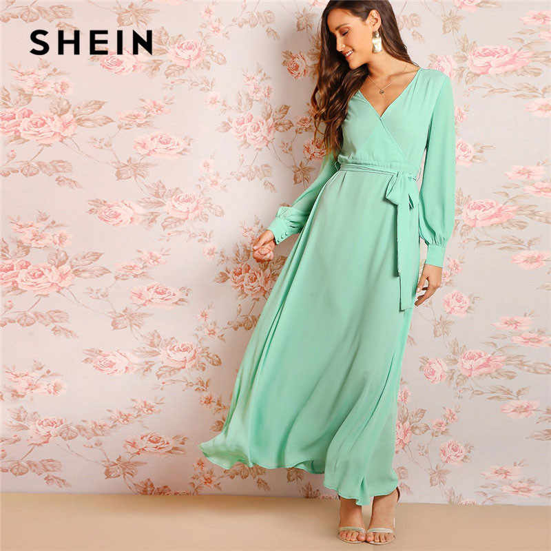 5e873c79a9 SHEIN Green Bishop Sleeve Surplice Wrap Belted Women Maxi Dress Fit And  Flare Solid Long Sleeve