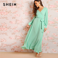 SHEIN Green Bishop Sleeve Surplice Wrap Belted Women Maxi Dress Fit And Flare Solid Long Sleeve 2019 Spring Party Dresses