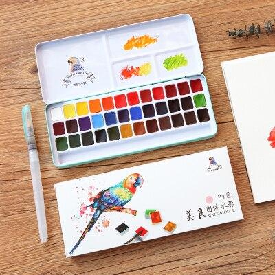 24/36 couleurs Art fournitures eau couleur peinture ensemble solide aquarelle Pigment poudre peinture voyage ensemble