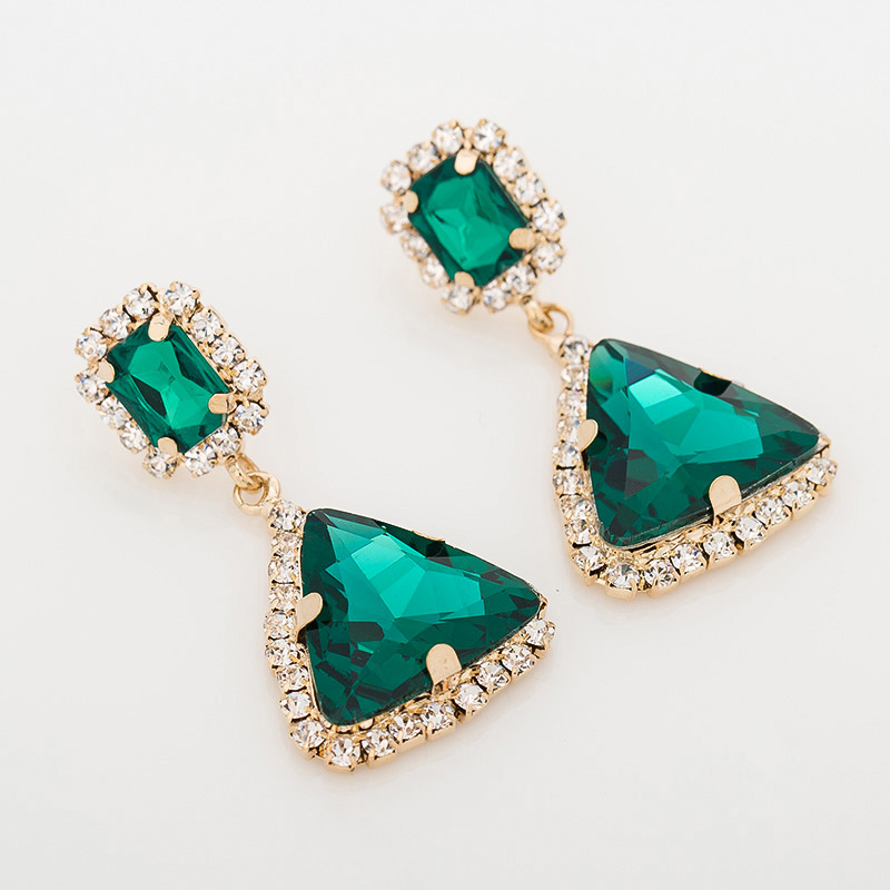 YFJEWE Fashion popular jewelry accessories Earrings green crystal gems sexy fashion star gold  drop earrings for women #E022