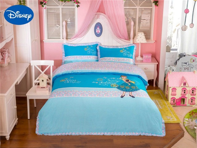 lace froren elsa und anna bettw sche set m dchen baby bett blatt disney cartoon baumwolle. Black Bedroom Furniture Sets. Home Design Ideas