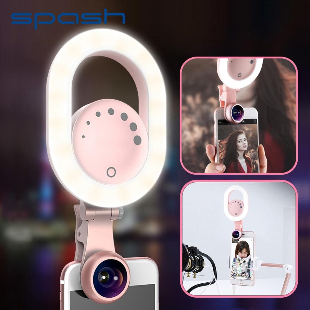 Spash телефон светильник светодиодный селфи кольцевой светильник с телефоном Широкоугольный макро объектив портативный заполняющий красоты лампа для iPhone Youtube фото