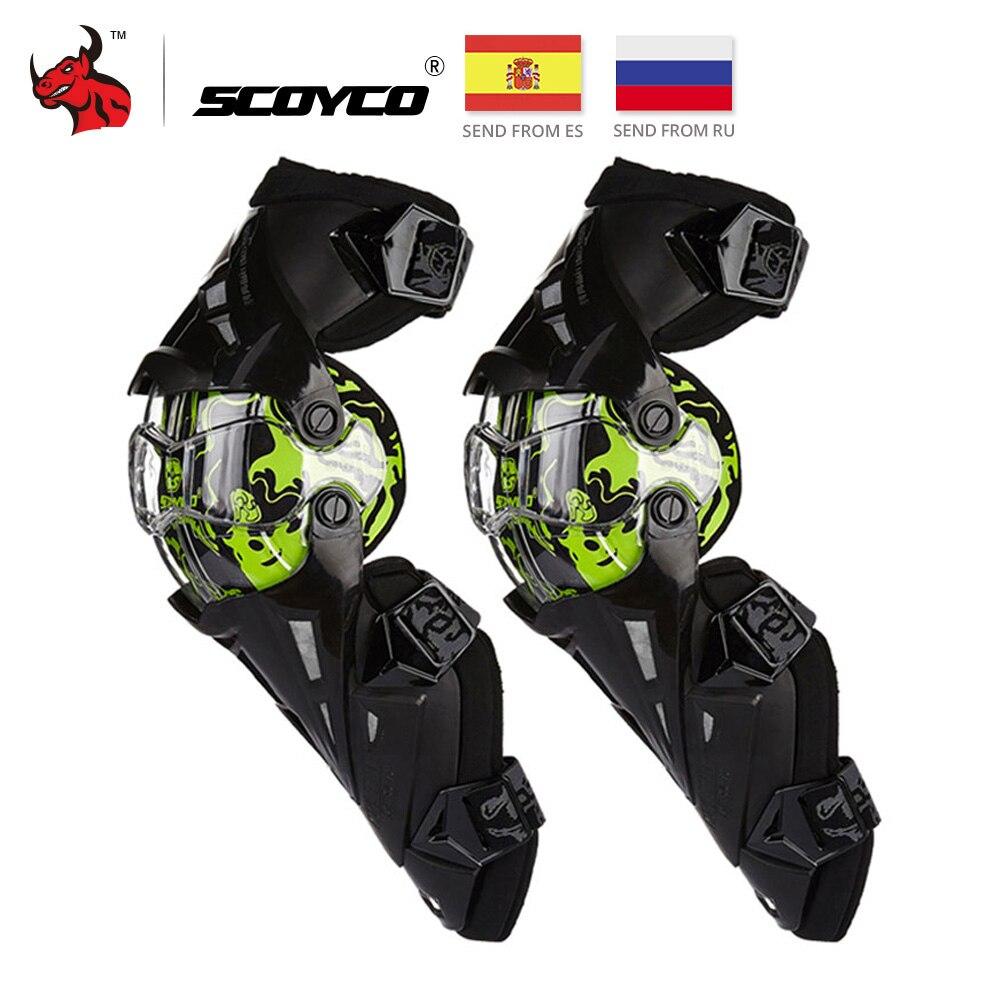 SCOYCO Motocicleta CE Joelheira Motocross Knee Guards Proteção Da Motocicleta de Corrida de Engrenagens Do Motor-Racing Guardas de Segurança Do Joelho Brace Preto