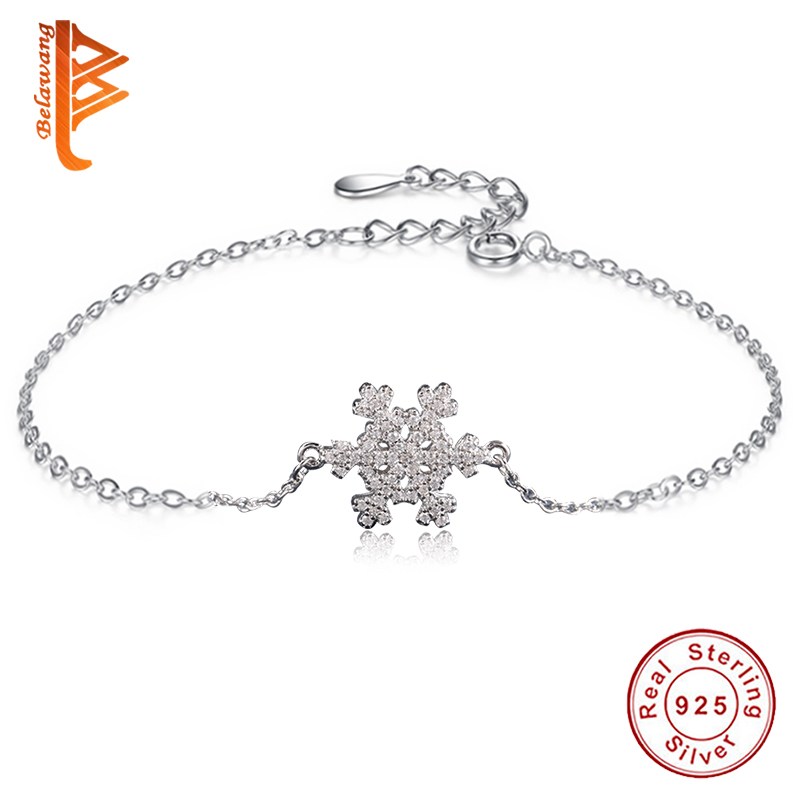 Christmas Jewelry Gift 100% 925 Sterling Silver Chain Bracelet for Women Crystal Snowflake Charm Bracelet Bangle Luxury Jewelry