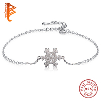 Christmas Jewelry Gift 100 925 Sterling Silver Chain Bracelet For Women Crystal Snowflake Charm Bracelet Bangle