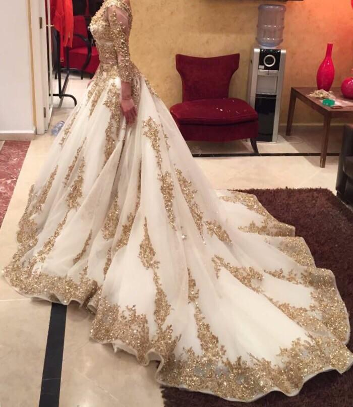 Two Pieces Wedding Dresses Gold and Ivory Arabic Beads Luxury V ...