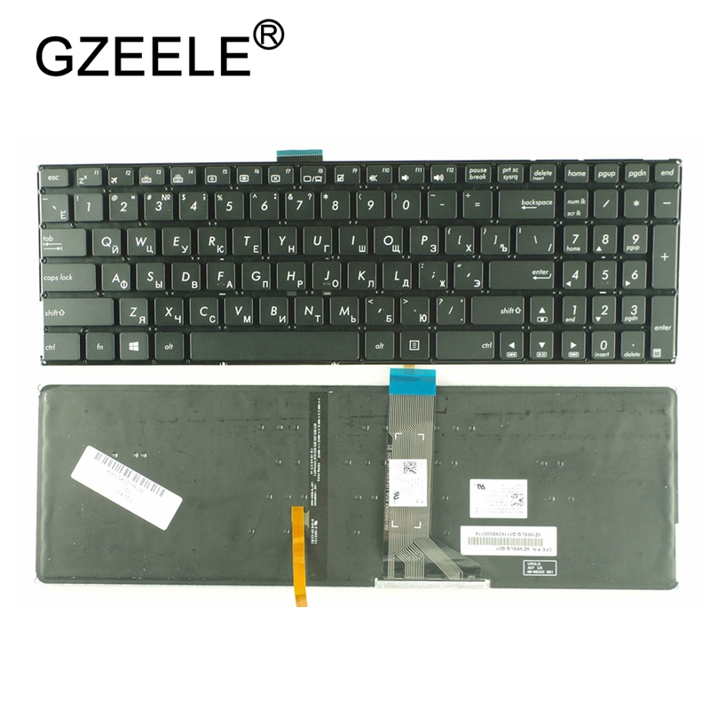 GZEELE new Russian Laptop Keyboard for <font><b>ASUS</b></font> K501 K501U K501UB K501UQ K501UW <font><b>K501UX</b></font> A501L RU backlight without frame with Backlit image