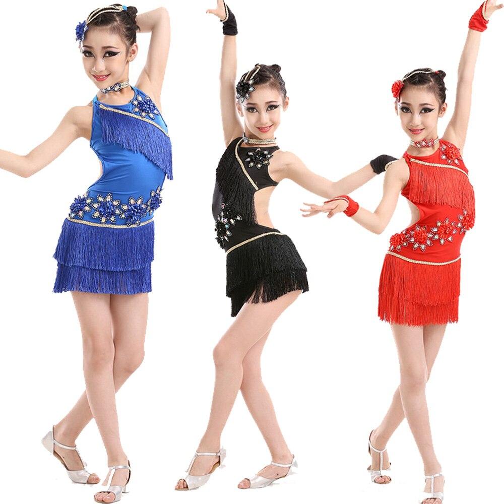 Tassels Competition Latin Dance Dress For Girls Salsa Dress Ballroom Dance wear costumes Girl Dancewear Kids Stage wear dress