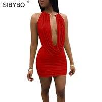 Sibybo שמלת הקיץ לנשים ללא שרוולים ללא משענת הלטר מיני מתכת צווארון כבוי כתף שמלת סט שתי חתיכה קצר סקסי Bodycon בנות