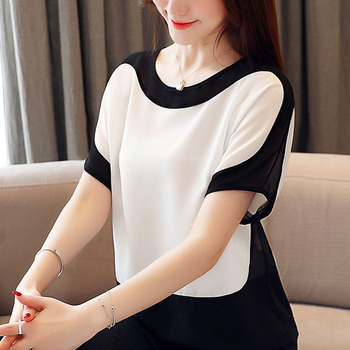 Womens tops and blouses fashion 2019 chiffon blouse plus size ladies tops shirts Solid Short O-Neck Batwing Sleeve 3397 50 6