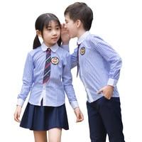 2018 החדש קוריאה ובריטי חצאיות מדים בית ספר תלמידים יפניים ארוך שרוולים כחולים חליפות בני בנות