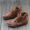 Женщины Ботильоны ручной Натуральная Кожа Женщина Сапоги Весна Осень Квадратных Ног кружева до Обувь Обувь Женская (5188-8)