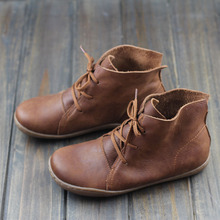 Women Ankle Boots Hand-made Genuine Leather Woman Boots Spring Autumn Square Toe lace up Shoes Female Footwear (5188-8)